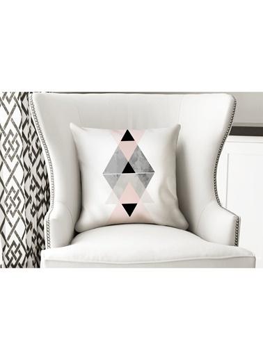 Lyn Home & Decor Pembe Geometrik Yastık Kılıfı Renkli